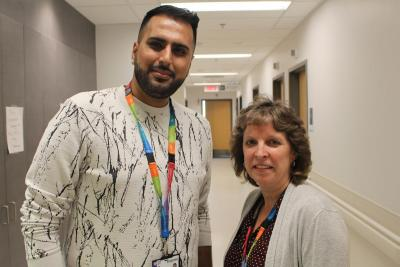 Susan McIlvinney and Atif Abbas are part of the Children's Nursing Resource Managers team. At the end of every shift, the managers do a handover where they review the key issues of that day.