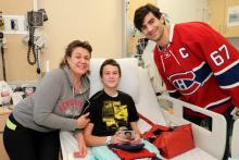 Serguei sourit avec capitaine Max Pacioretty.