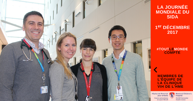 De g. à d. : Dong Hyun (Danny) Kim, infirmier chercheur, Dre Gillian Morantz, Dre Marie-Astrid Lefebvre, Dr Chris Karatzios, directeur du programme du VIH de l'HME.